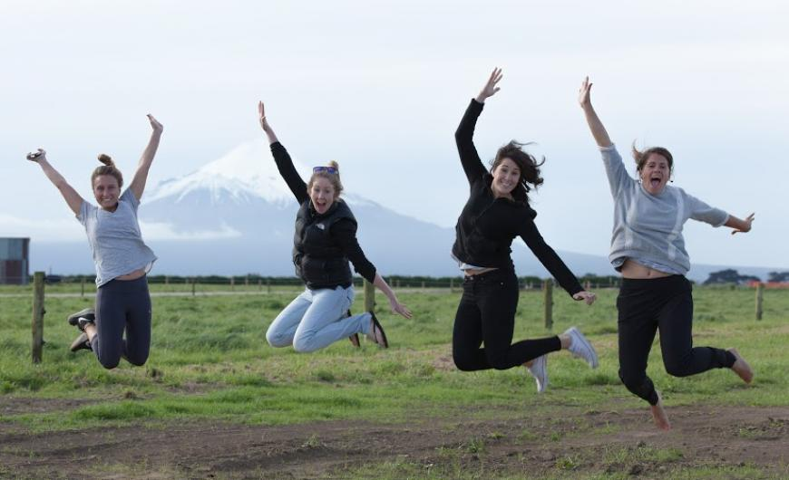 Our awesome guides jumping for joy in the region of Taranaki