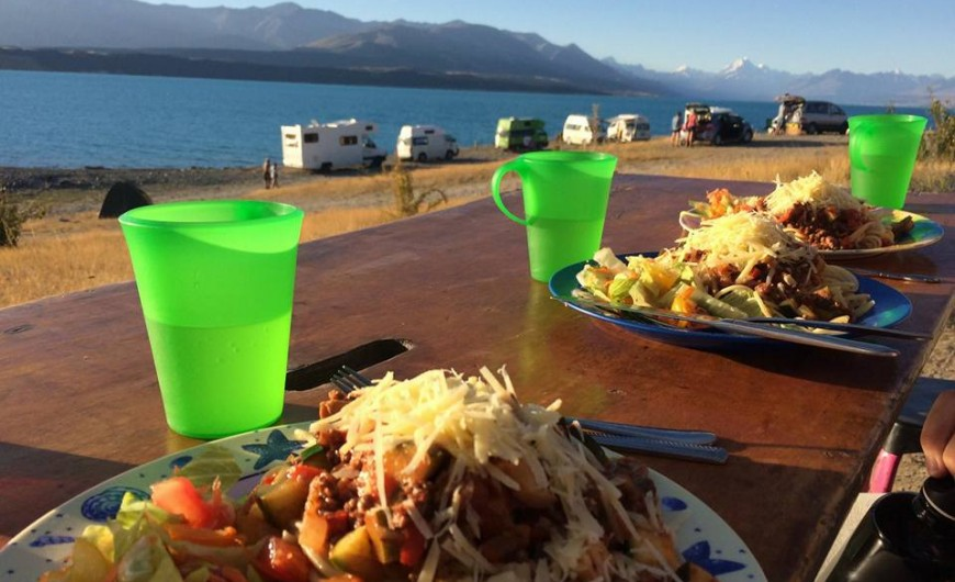 Spaghetti Bolagnaise at Lake Pukaki Photo taken by: Anne Gusti