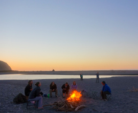 Bonfire and Sunset at Okarito