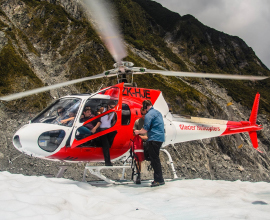 Heli landing on Fox Glacier