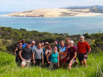 A group on a Flying Kiwi NZ adventure tour
